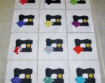 "Set of 12  Vintage Style Sewing Machine  6"" x 6""  Cotton Quilt Blocks"