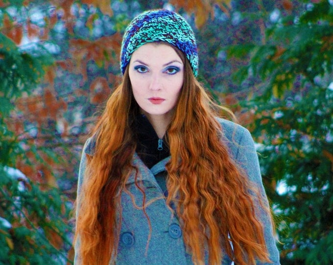 Purple and Green Tones Slouch  Beanie Winter Hat Gift for him or her