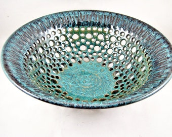 Pottery fruit bowl , Ceramic fruit bowl , modern home decor, teal blue wedding gift - IN stock  62 FB A