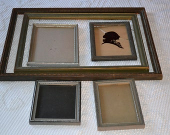 6 Vintage Wooden Picture Frames, Decorative