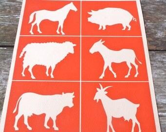 Vintage 1950/50s French educative  school decorative farm animals plate Les silhouettes de l'Oncle Roland