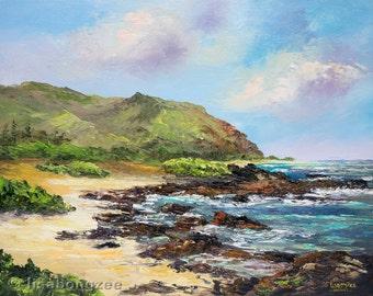 HAWAII SHORELINE Original Palette Knife Oil Painting 11x14 Art Plein Air Sandy's Sandys Kaiwi Ka Iwi Sandy Beach Island Ocean Waves Hawaiian