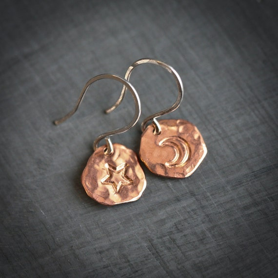 Textured Copper and Sterling Silver Disk Moon Star Dangle Earrings