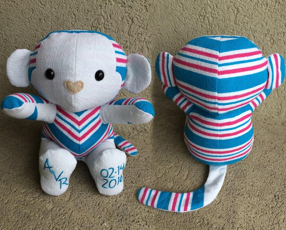 Keepsake Memory Monkey Stuffed Animal Upcycled From Your
