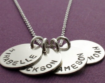 FOUR Name Personalized Necklace in Sterling Silver - Hand Stamped, Engraved Mom Necklace with Four Charms by EWD