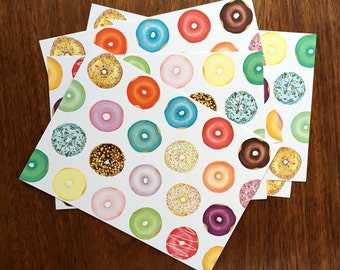 Donut Have a Care in the World Print Postcard - Six (6) Postcard for Donut Lovers