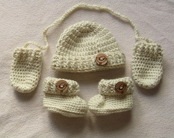 Crocheted Baby Hat, Mitts and Booties - Baby Boy Gift - Baby Girl Gift - Newborn - Baby Booties - Baby Hat - Baby Shower Gift - Handmade