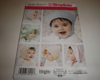 Simplicity Pattern   Hats for Baby and Toddlers              Item 3840