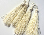 """4 Ivory Thread Tassels, 3 3/4"""" each, Jewelry Components, DIY Jewelry"""