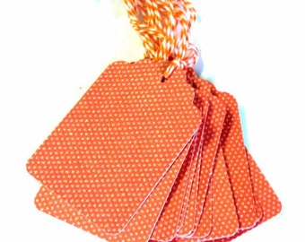 12  Gift Tags in Orange Glitter Tiny Dots,  Handmade Party Favor Tags, Hang Tags