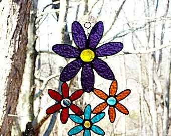 Stained Glass, Suncatcher, Daisy Cluster, Purple Teal Gold, Kitchen Window Decor