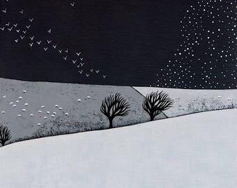 "Snow Storm Coming - Original 8x8"" Winter Landscape Painting - Contemporary Art - by Natasha Newton"