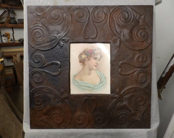 TIN CEILING Rust Barnish Picture Frame 8x10 Shabby Recycled chic 548-16