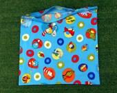 Custom large  cotton zipped bag, Dr Suess fabric