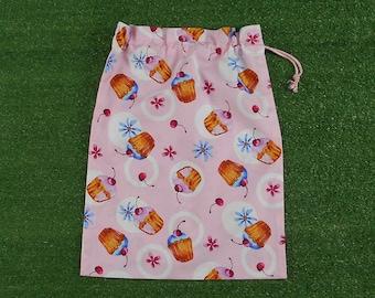 Drawstring bag, pink cupcakes medium size storage bag, gift bag, activity bag