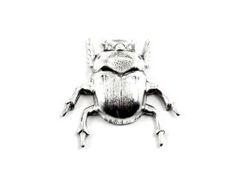 Japanese Death Beetle Stamping - 1 Piece- Antiqued Sterling Silver Plated Over Brass - Macabre, Gothic, Steampunk, Entomology, Insects, Bugs