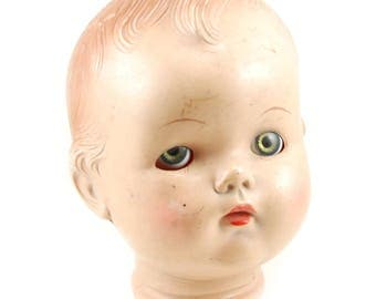 Vintage 20's Creepy Doll Head - Painted - Working Hazel Eyes - Composite Doll Parts - 6 Inches Tall