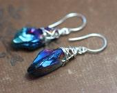 Blue Quartz Point Earrings Blue Earrings Quartz Crystal Silver Wire Wrapped Earrings Luxe Rustic Jewelry
