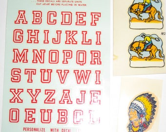 Vintage Decals - Alphabet, Small Cowboys and Indian