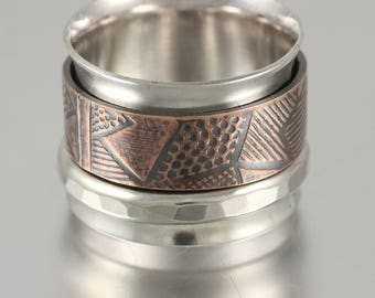 Sterling Silver Band Spinner Ring with Textured Copper and Sterling Forged Wire Spinners