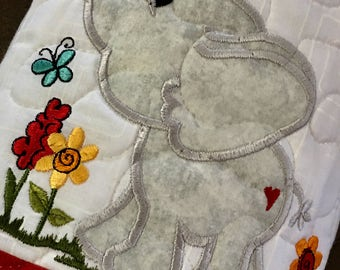 Quilted SPRING Table Runner . . . Dilly Dallying . . . Appliqué Elephants and Ladybugs . . . Decorate your Space
