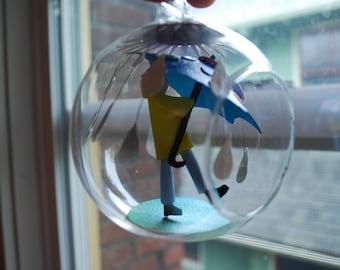 """paper art hanging terrarium in a 4"""" glass globe"""