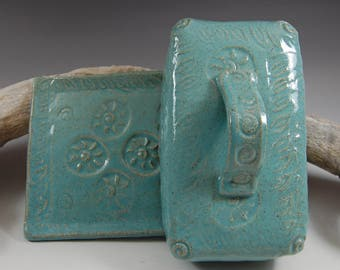 Pottery Butter Dish - Covered Butter Dish - Handmade Butter Dish -  Turquoise