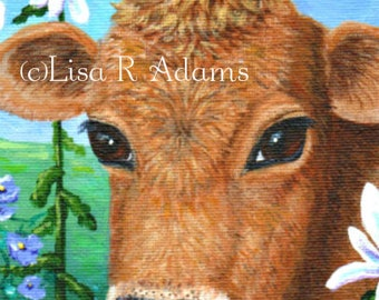 Red Cow Farm Note Cards from Original Painting Creationarts Free Shipping