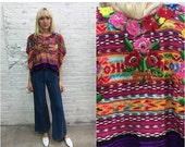 THANKS flash sale // vintage Guatemalan huipil / embroidered floral hippy top / south american poncho / ethnic embroidered top