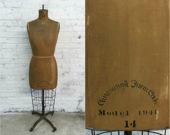 antique dress form / rustic 1940s Cavanaugh Form Co dress form size 14