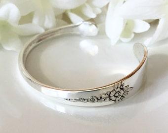 Silver Bracelet Cuff, Spoon Bracelet, Spoon Jewelry, Silver Cuff Bracelet - 1941 FANTASY