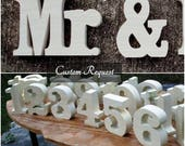 Custom Order for wooden table numbers and Mr & Mrs signs