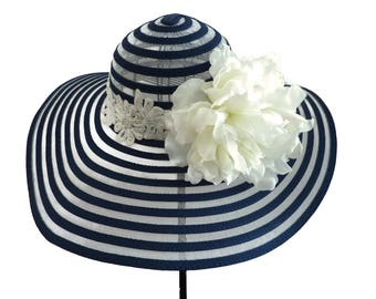 "Kentucky Derby Hat, Spring Fashion, Wedding Guest Hat, Church Hat, Garden and Tea Party Hat in Navy Blue and White is - ""Simply Perfect"""