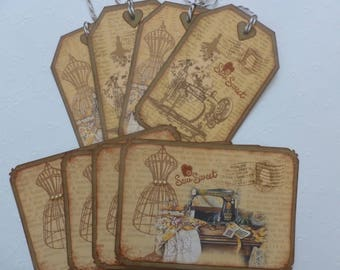 Sewing tags and postcards with envelopes, vintage style, hand stamped, Sew Sweet, gift for seamstress