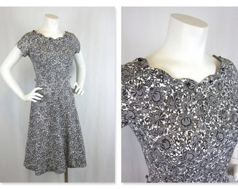 Vintage 40s or 50s Black and White Cotton Eyelet Dress, Sz S