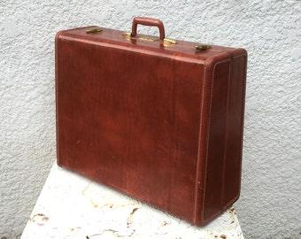 "Vintage Samsonite Suitcase - Large, Reddish Brown ""Colorado Brown"", Tapered, Brass Latches, Original Key, Model Number ""4937"""