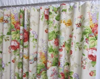 Cottage Shower Curtain, Shabby Chic Shower Curtain, Floral Shower Curtain, Cottage Style Bathroom Decor, Made-To-Order