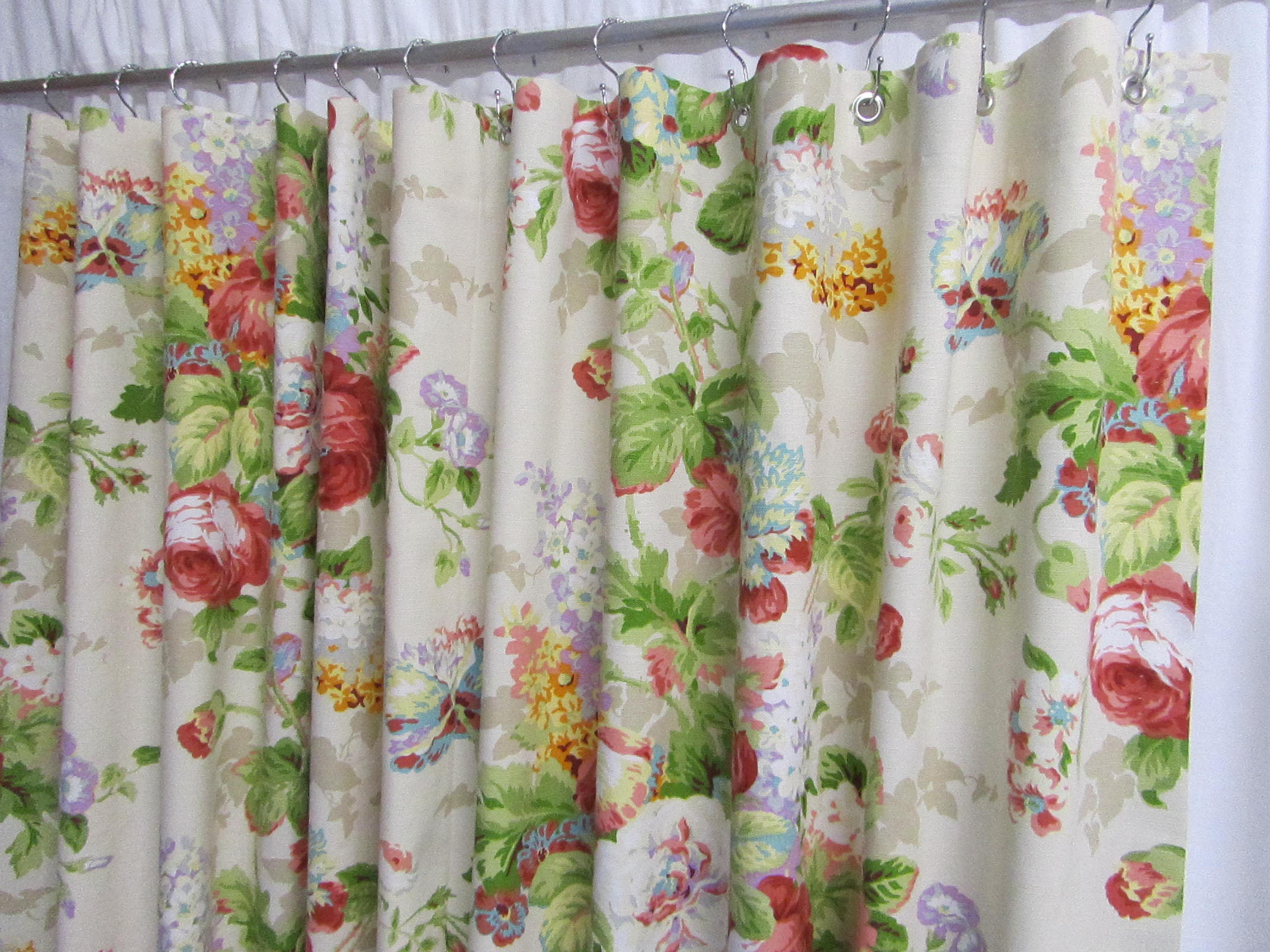 Cottage Shower Curtain Shabby Chic Shower Curtain Floral