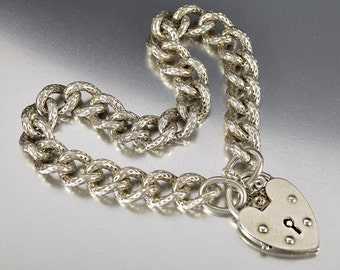 Antique Padlock Curb Chain Bracelet, Sterling Silver English Heart Padlock Bracelet, Thick Engraved Albert Pocket Watch Chain