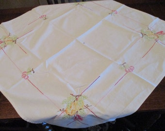 """Adorable Hand Embroidered Small Tablecloth or Towel, 34"""" x 32"""", 1950's, Features Fruit and Cherries, Has One Ink Spot, No Holes"""