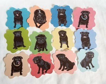 Black Pug Die Cut Collection - Eco-friendly Set of 12 - Scrapbooking Embellishment