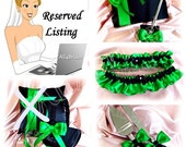 RESERVED LISTING  Emerald Green and Black weddings ring bearer pillow, flower girl basket, guest book, cake set, bridal garters, flutes.
