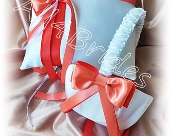 Weddings Coral Reef and Guava Flower Girl Basket and Ring Bearer Pillow, ring cushion and basket set.