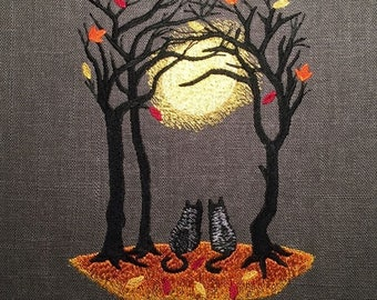 Moonlit Fall Wedding Autumn Full Moon Two Black Cats 8x10 Inch Frameable Embroidery Choose Color Linen
