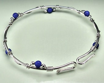 Stacking Lapis Bangle Bracelet, Sterling Silver Bangle, Lapis Lazuli Gemstone, Unique Original Design, Opens, Custom Sizes Available