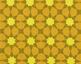 215351 chartreuse olive green flower star shape fabric Andover USA Seventy Six