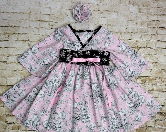 Boutique Little Girls Dress - Pink Easter Dress - Toddler Girl Clothes - Girls Birthday Dress - Girls Dresses - Long Sleeves - 2t to 7 years