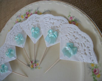 Shabby Cottage Chic Ribbon Bows and Lace Cupcake Toppers Picks Aqua Blue, For Birthdays, Bridal Showers, Baby Showers, Tea Parties