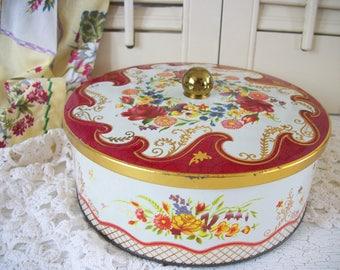 English Tin Daher Red Floral Design, Made in England Tin
