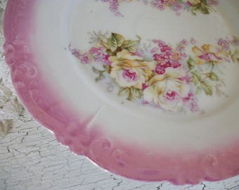 Antique Rose Dessert Plate Embossed Plate Pink and Yellow Roses Pink Embossed Edge, Bread Plate Victorian Farmhouse Style Cottage Style
